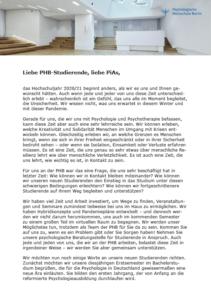 Semestergrußwort der Hochschulleitung der PHB